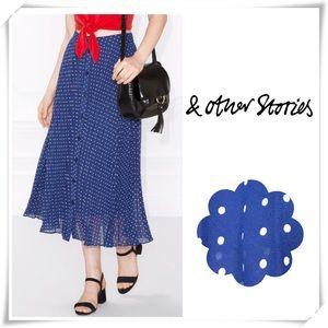 & Other Stories Poker Dots Pleated Skirt Blue
